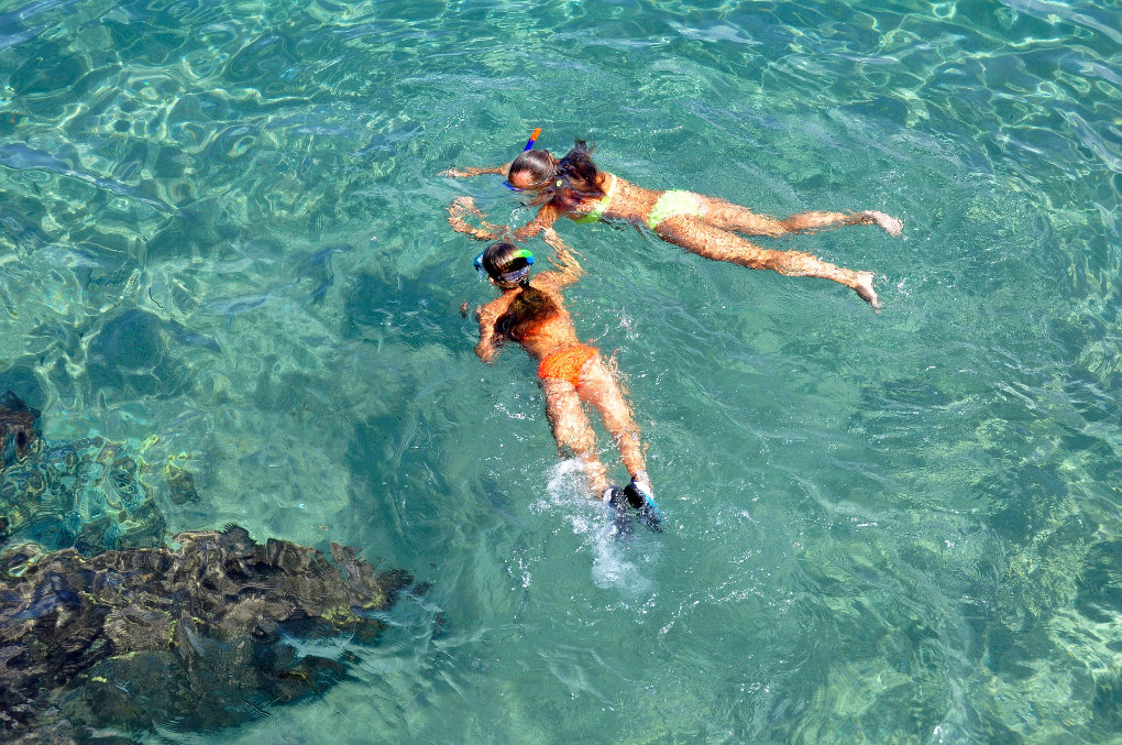 Snorkling off a private yacht in the Virgin Islands with Take It Easy Custom Charters